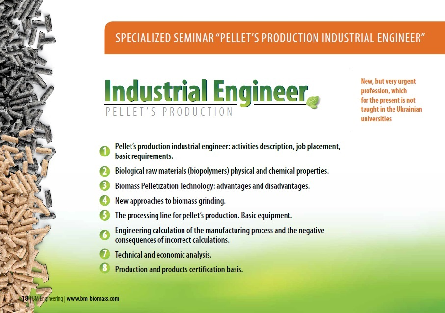 Specialized Seminar PelletS Production Industrial Engineer